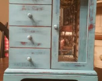 Jewelry Box - Turquoise Jewelry Box - Teal Jewelry Box - Aqua Jewelry Box - Wood Jewelry Box - Blue Jewelry Box - Painted Jewelry Box