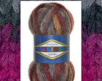Alize Country New ,wool, super chunky,bulky yarn,multicolored,fancy yarn,Very bulky, super bulky