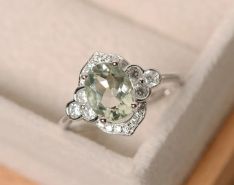 Green amethyst ring, silver, oval cut engagement ring