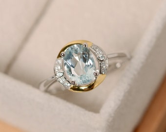 Aquamarine ring, yellow gold, oval cut promise ring, sterling silver