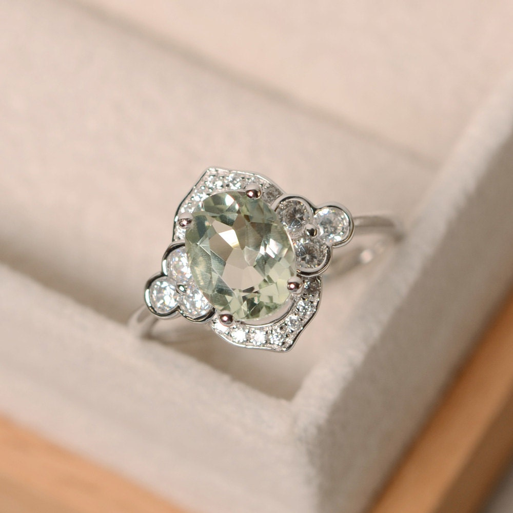 Green Amethyst Ring Silver Oval Cut Engagement Ring