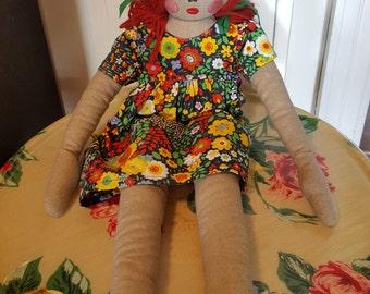 tissue flower dress doll