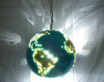 Exquisite early 1980's vintage globe! Now a spectacular handmade swag lamp! FREE SHIPPING to U.S.!