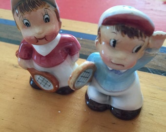 Vintage Tennis Players salt pepper