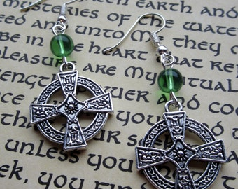 Celtic Cross Earrings with Green glass bead