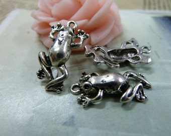 20 Frog Prince Charming antique silver tone 3D