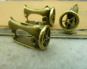 10 Sewing Machine Charms Antique Bronze Tone 3D - WS3450