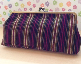 Cosmetic Pouch with Kimomo Fabric cotton-stripes/rectangular