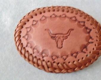 Leather Belt Buckle - Steers Head