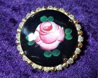 Vintage Rhinestone Flower Pin Brooch