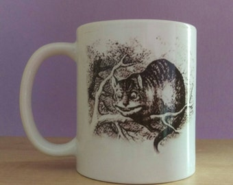 Alice cat illustration cup mug,Cheshire Cat, Alice,wonderland, Alice in wonderland cup, from the books by Lewis Carroll, illustration mug
