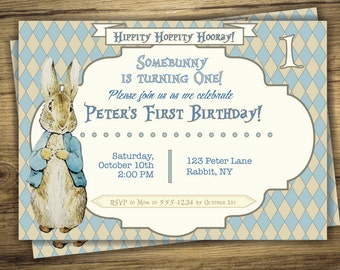 peter rabbit party | etsy, Birthday invitations
