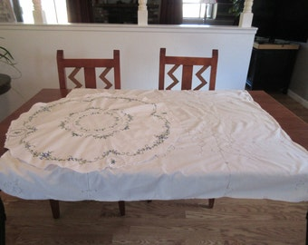 Vintage Crochet Tablecloth and Embroidery Accent Tablecloth
