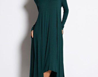 D6190 Long Sleeve High-low long maxi dress