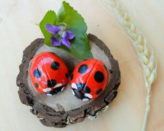 Sale ladybugs clay ladybug ornament or magnet mini art wood slice polymer clay ladybug