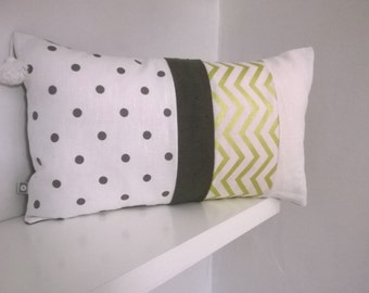 Cushion cover rectangular patchwork grey, white and gold