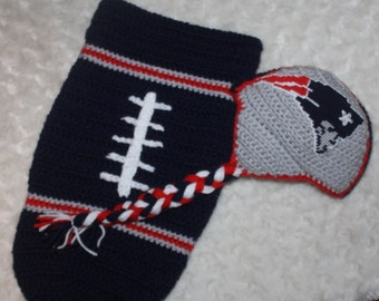 Baby FOOTBALL Cocoon, Newborn Football swaddle, New England PATRIOTS Inspired (Handmade by me and not affiliated with the NFL)