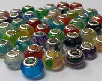 Murano Lampwork Beads Assorted Pendant Big Hole Beads - 49 Pieces