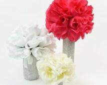 5 Piece Rose Centerpiece Set, wedding,floral centerpiece, Candles, Party favor, Cheap Centerpieces, Bling, affordable, Tea Light Candles