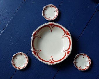 Société Céramique Maestricht, model Alice 1, pattern 467: art-deco 'Spritzdekor' presenting bowls, Maastricht, 1930s