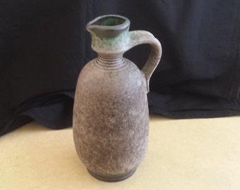 Rare Krösselbach W. German pottery handled fat lava vase, 72/4, mangan clay.