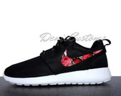 ON SALE Nike Roshe Run One Black with Custom Red Pink Rose Floral Print