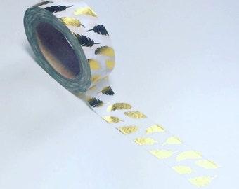 Gold feathers washi, gold foil washi, feathers washi tape, planner washi, washi tape