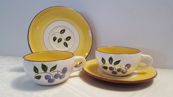 Stangl Blueberry Two Tea Cups & Saucers #3770