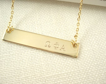 Sorority Greek letters Hand Stamped Gold Bar Necklace...Personalized Name plate bar jewelry, Sorority gift, monogram, bridesmaid gift