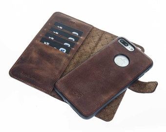 iPhone 7 Plus Magnet Wallet Case - Snap-on Case (2 Case in 1), 7 Plus Leather Case, Perfect for Cards and Cash in AnticBrown