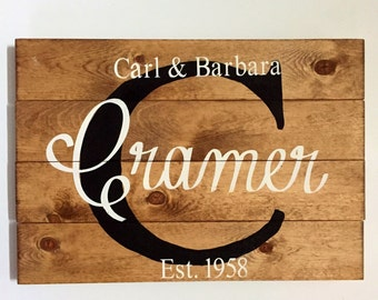 Last name wood sign, wooden last name sign