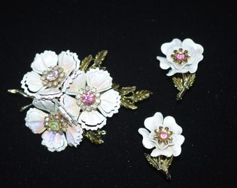 Coro enamel and rhinestone brooch and earrings set
