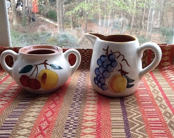Stangl Fruit Creamer and Sugar Bowl (no lid)