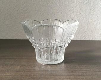 Vintage Lasise of Finland Glass Flower Vase or Votive Candle Holder