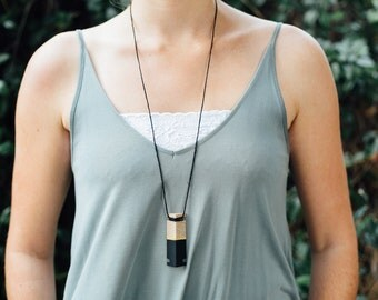 Black & Gold Geometric Triangle Wooden Necklaces