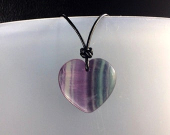 Unisex Large Natural Rainbow Fluorite Heart Pendant with Sterling Silver Black Leather Cord Necklace