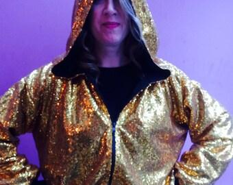 Gold Sequin Hooded Bomber Jacket