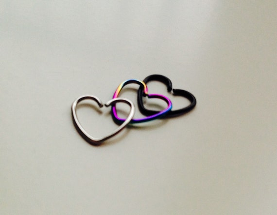 Heart | Shaped Hoop | Love | Heart | Piercing | Tragus | Daith | Cartilage | Earring | Body Jewellery | Choice Of Colours