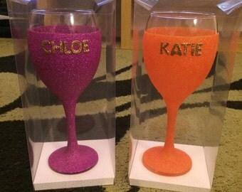 Gorgeous personalised glitter wine glass amd gift box perfect gift present valentine birthday