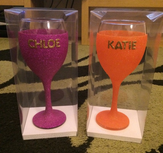 Gorgeous personalised glitter wine glass amd gift box perfect gift present valentine birthday