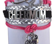 Cheer Mom Jewelry- Cheer Mom Bracelet - Adjustable Cheer Mom Charm Bracelet- Perfect Cheerleading Mom Gift!!