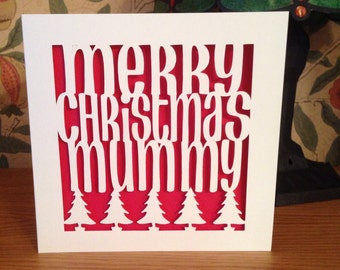 Papercut - Merry Christmas Card - Personalised - Mum Card - Mummy Card - Dad Card - Nanny Card - Grandad Card - Mam - Uncle - Xmas Card