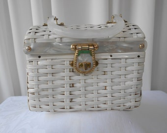 Vintage 50's Box Purse White Coated Wicker with Lucite Handle and Trims