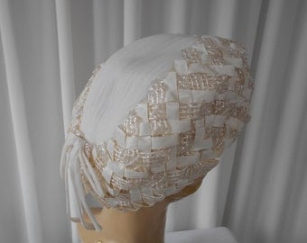 Vintage  White Toque Hat, Pleated Chiffon with Woven Raffie Brim 1960's  #20028