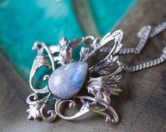 """Necklace Elvish """"Elwing"""" Moonstone - Silver Collection - Art pattern"""