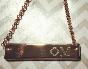 Gold Bar Pendant Necklace Sorority - Phi Mu Zeta DDD KD Chi Omega Alpha Phi Gamma Phi Beta ZTA