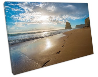 Footprints in the SAND canvas WALL ART C2604