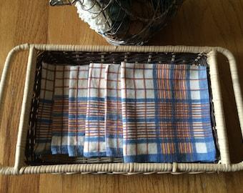 Vintage Handwoven Napkins, Set of Six