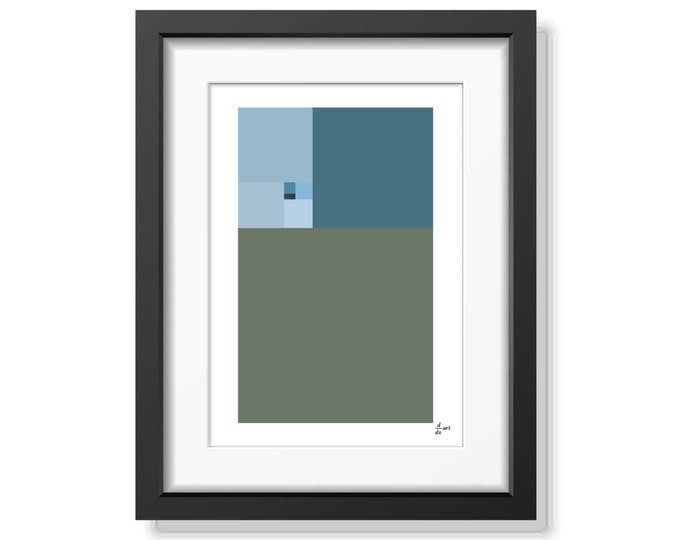Fibonacci Winter [mathematical abstract art print, unframed]