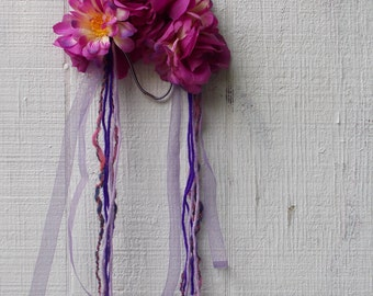 Purple Flower Crown// Floral Headband// With Ribbon